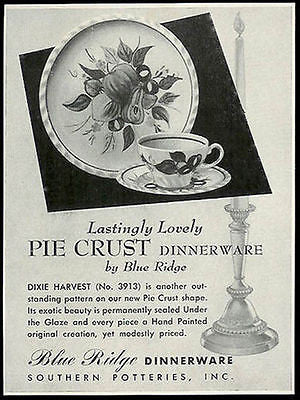 Blue Ridge Southern Potteries Pie Crust Dinnerware 1948 Photo Ad - Paperink Graphics