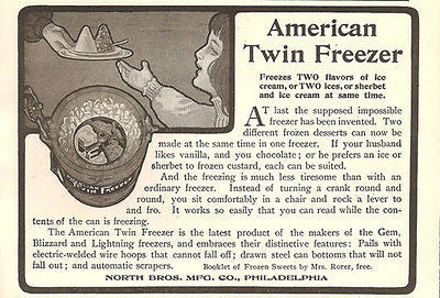 Ice Cream or Sherbert Make Two Flavors at Once American Twin Freezer 1905 AD - Paperink Graphics