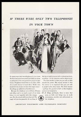 Candlestick Telephone AT&T Center of Attention 1932 Print  Ad
