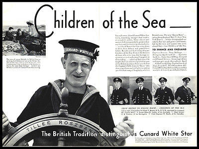 Cunard White Star Aquitania Helmsman Officiers 1936 Photo AD