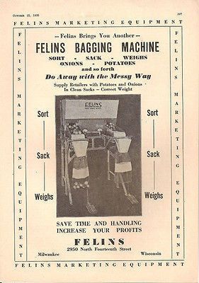Felins Bagging Machine Vegetables Sort Sack Weigh 1935 Photo Ad AUTOMATION - Paperink Graphics