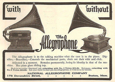 Allegrophone Talking Machine Two Models One With Plate Glass Sliding Top 1908 AD - Paperink Graphics