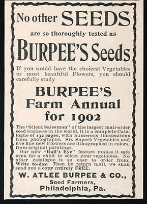 Burpee's 1902 AD Seeds Farm Annual Free Copy Vegetables Flowers Garden Farm