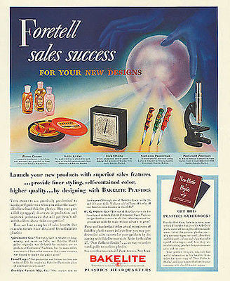 Bakelite Plastics Crystal Ball Products Design Print Foretell Sales 1939 Ad