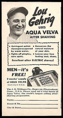 Lou Gehrig 1937 Baseball Ad for Aqua Velva Shaving