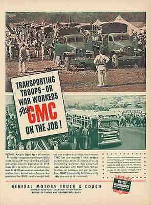 GMC Army WWII Troop Transport Photo 1942 Ad