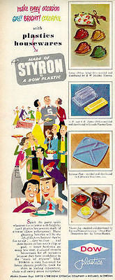 Plastics Kitchen 1950 Dow Ad Gay! Bright! Colorful Plastic Housewares