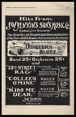Dangerous Blues Dance Orchestra Music 1922 Ad Fox Trot Kansas City