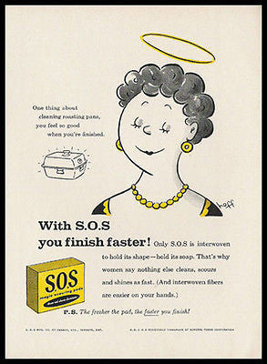 Hoff Angel Halo Art SOS 1959 Cleaning Ad - Paperink Graphics