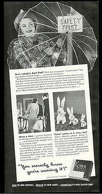 Plastic Umbrella Lady in Plastic Raincoat 1940 Kotex Sanitary Napkins Ad