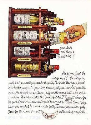 Cruse Wine Bottle Labels Photo Illustration Ad 1965 Choosing a French Wine - Paperink Graphics