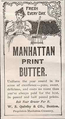 Butter Churn Beauty Mahattan Print Butter 1896 Dairy AD - Paperink Graphics