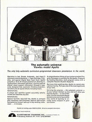 Apollo Viewlex Planetariums Unlimited Holbrook NY Astronomy Education Ad 1968