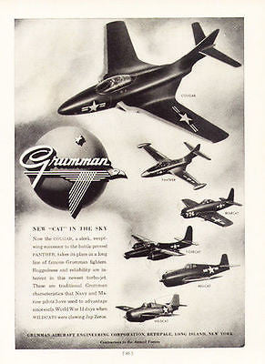 Grumman Aircraft Cougar Panther Bearcat Plane 1953 Aviation Airplane Flight Ad - Paperink Graphics