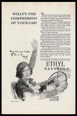 Ethyl Gasoline Flapper Beauty 1929 Clark Agnew Print Ad