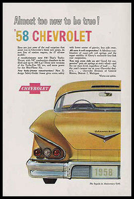 Chevrolet Impala 1958 Anniversary Gold V8 Turbo Thrust Rear View 1957 Ad - Paperink Graphics