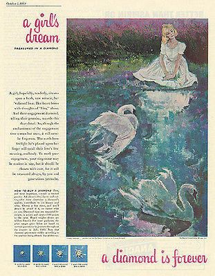 Swans De Beers Loverly Dreamer 1961 Diamond Print AD SWANS