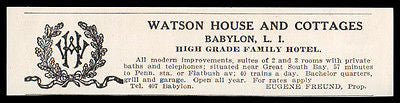 Babylon LI 1915 Watson House Cottages Family Vacation Hotel NY Print Logo AD