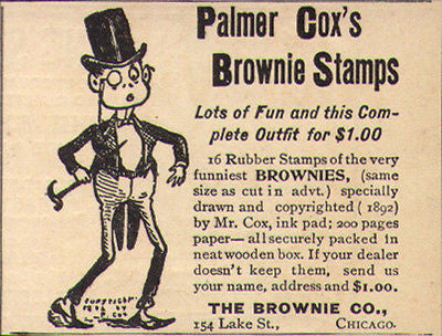 Brownie Stamps Ad 1892 Palmer Cox 16 Rubber Stamps Ink Paper