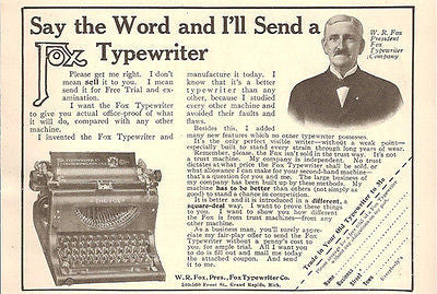 Fox Typewriter Free Trial Accepts Trade In Square Deal 1908 W R Fox Small AD