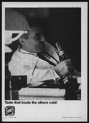 Male Nurse Takes Pepsi Soda Break 1968 Ad - Paperink Graphics