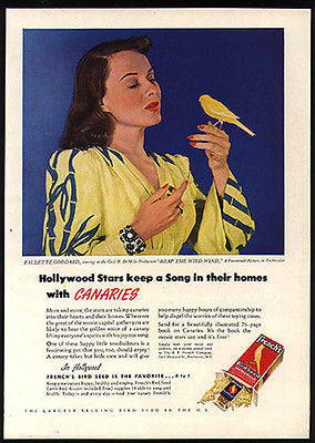 French's Bird Seed Movie Star Paulette Goddard Holds Canary 1930s Photo Ad