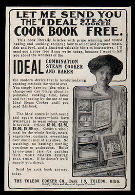 Ideal Steam Cooker Baker AD 1907 Modern Lady Shows Cooker Kitchen Advertisement - Paperink Graphics