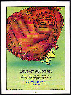 Woodstock Baseball Catcher MetLife 1990 Schulz AD Huge Baseball Glove Graphics