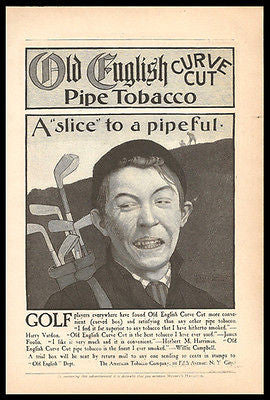 Golf Old English Curve Cut Pipe Tobacco 1900 Ad Signed Enblue