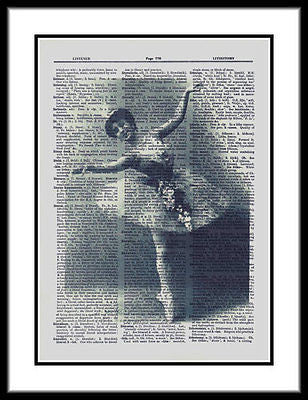 Ballet Dancer Graceful Flowers Dictionary Print  ladies017 - Paperink Graphics