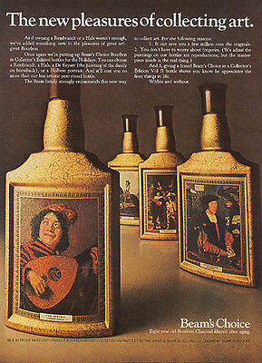 Beam's Choice Bourbon Collecting Art Bottles 1967 AD - Paperink Graphics