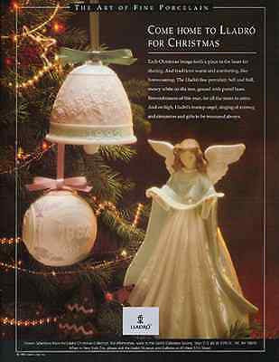 Lladro AD 1992 Christmas Angel Bell Ball Porcelain Pretty Holiday Ornaments - Paperink Graphics