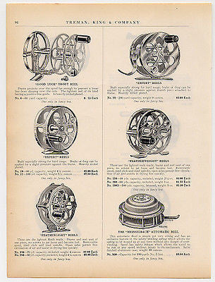 Fishing Reels 1915 Catalog Advertising Page Six Reels Illustrations Descriptions Ad