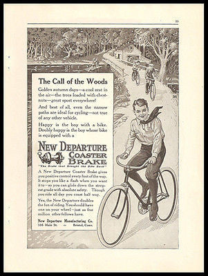 Bicycle Coaster Brake New Departure 1917 Print Ad Knicker Boy Coasts