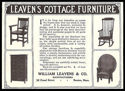 Arts & Crafts Furniture 1911 AD Wm Leaven's Boston Antique Home Decor Photo AD - Paperink Graphics