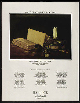 Book Pipe Candle Gallery Art AD 1988 Claude R Hirst Remember This Advertising - Paperink Graphics