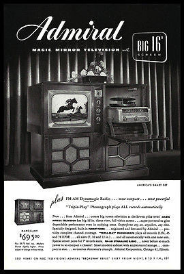"Admiral Television 16"" Screen Magic Mirror Television Radio TV Record Player AD - Paperink Graphics"