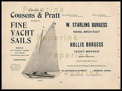 1902 Maritime AD Yacht Sails Architect Broker 1902 Eaglet Yacht Fine Sails