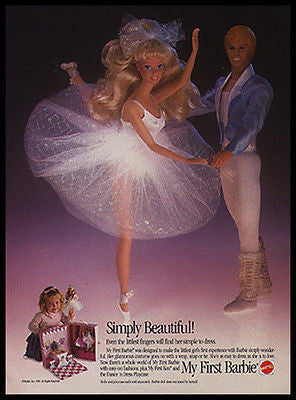 Barbie and Ken Ballet Stars 1989 Photo Ad Mattel Toys - Paperink Graphics