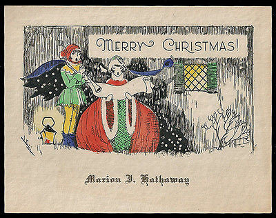 Antique Greeting Card Pixie Elf Christmas Carols Scroll Lantern Graphic Arts - Paperink Graphics