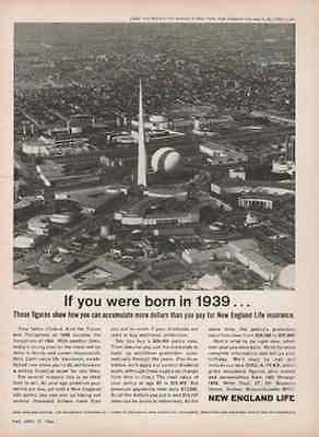 1964 Worlds Fair Trylon Perisphere NYWF Aerial Photo Insurance Illustration AD
