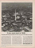 1964 Worlds Fair Trylon Perisphere NYWF Aerial Photo Insurance Illustration AD - Paperink Graphics