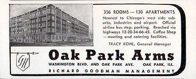1956 Travel Tourism AD Oak Park Arms Hotel Illinois 356 Rooms 130 Apartments