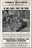 Edward H. Gibson Family Train Wait 1945 Geneology WWII Press News Photo Illust