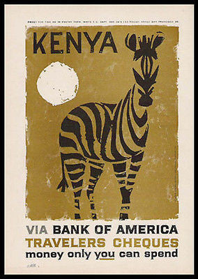 Kenya ZEBRA Woodcut Style 1959 Graphic Arts Print AD - Paperink Graphics