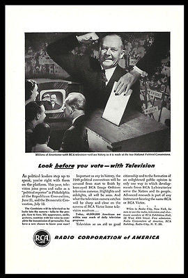 RCA Television AD 1948 Election Voting Box National Political Convention on TV
