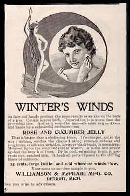 Woman in the Moon? Winter's Winds Prevents Chapped Skin 1898 Antique Print AD
