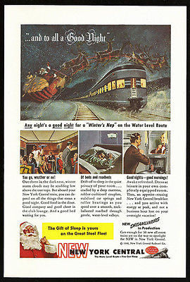Santa Delivers 1946 AD Winters Nap Sleeper New York Central Railroad Sled Deer