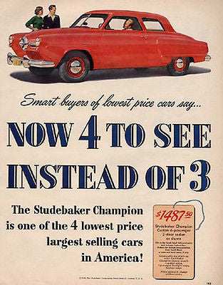 Studebaker Champion Mid Century Modern 1950 Photo AD