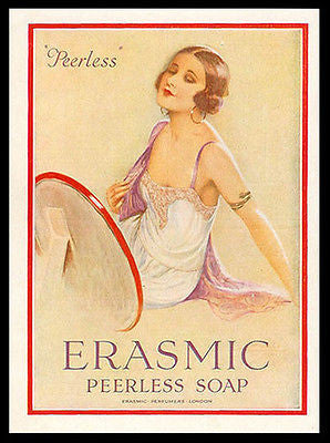 Flapper Erasmic Peerless Soap 1927 Print Ad Health Beauty Graphic Arts